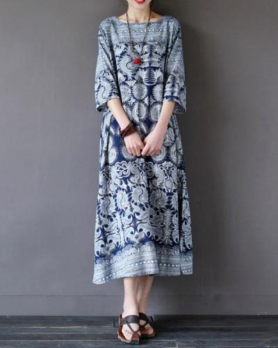 Vintage Printed Half Sleeve Crew Neck Plus Size Maxi Dress