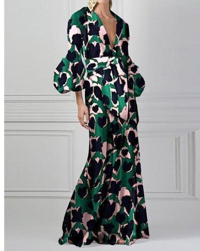 Green Vintage Floral Printed V-Neck Fashion Maxi Dress