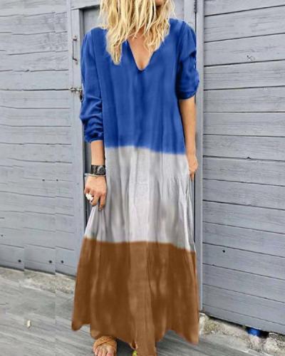 Bohemian Long Sleeve V Neck Summer Beach Holiday Dresses