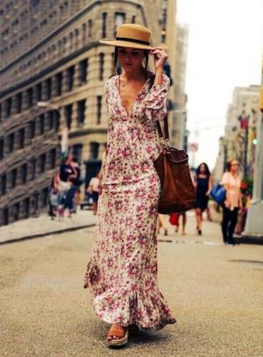 Women Floral V Neck Maxi Long Bohemian Dress Long Sleeve Beach Party Dresses