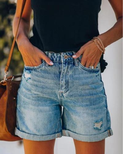 Ripped Hole Denim Shorts