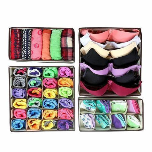 4pcs Closet Underwear Organizer Non Woven Bra Underwear Socks Drawer Storage Boxes