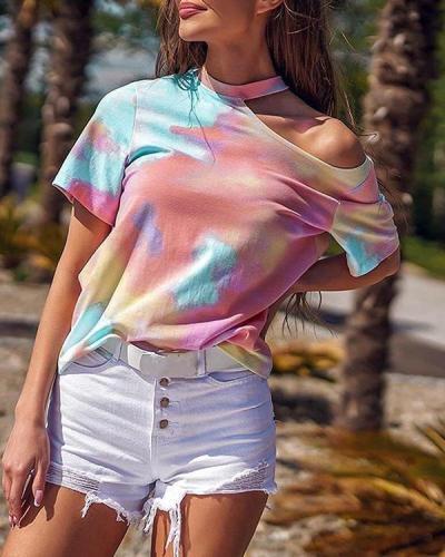 Fashion Tie-Dye Strapless T-Shirt
