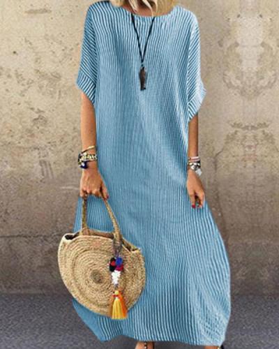 Fashion Striped Round Neck Holiday Casual Half Sleeve Dress