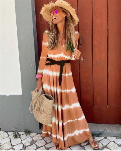 Fall Dress Wave Printed Long Sleeve Women's Maxi Dress