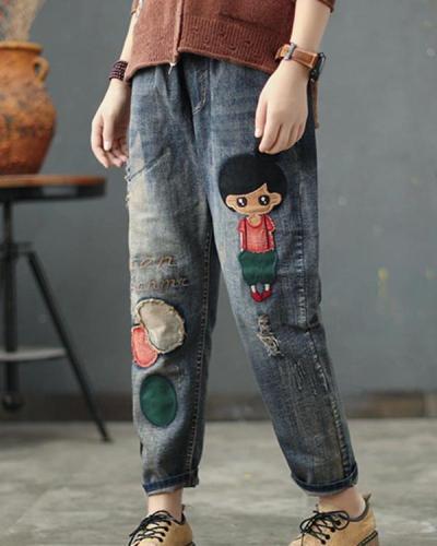 Women Cartoon Printed Casual Elastic Waist Pockets Jeans