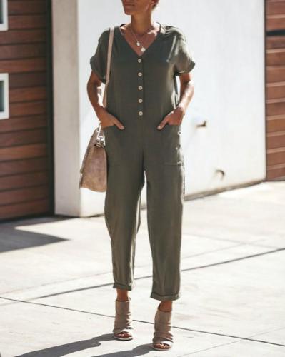 V Neck Plain Pocket Short Sleeve Fashion Jumpsuits