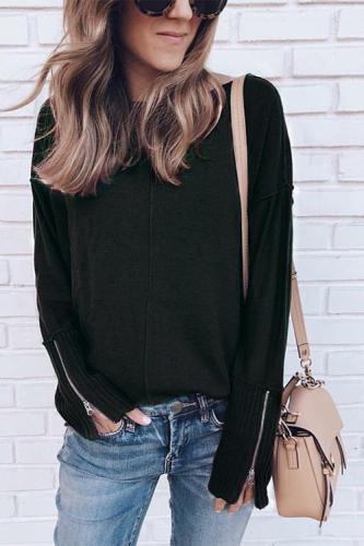 Zipper Long Sleeve Sweatershirt