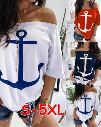 Casual Off Shoulder Bat Sleeve Printed Plus Size Shirts Tops