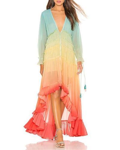 Layered V-Neck Multicolor Maxi Dresses