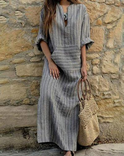 Casual Loose Maxi Dresses Cotton Linen Striped Long Sleeve Spring Dress
