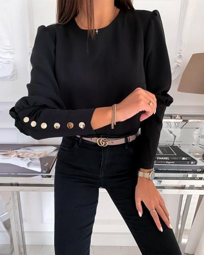 Women Spring Blouse Shirts Office Lady Back Metal Buttons pullover tops