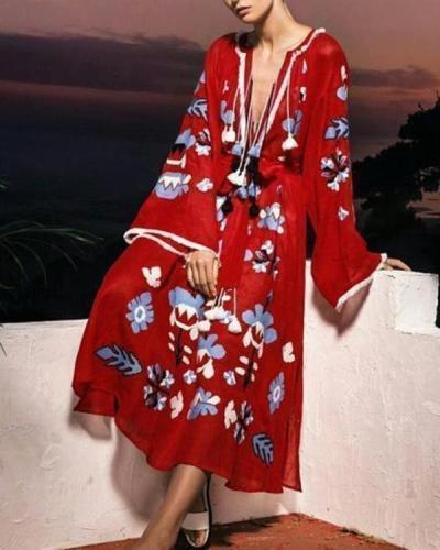 Women Bohemian Style Tassel V Neck Plus Size Dress