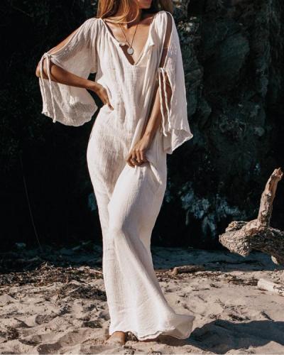 Deep V-neck Off-shoulder Flare Sleeve Maxi Dresses