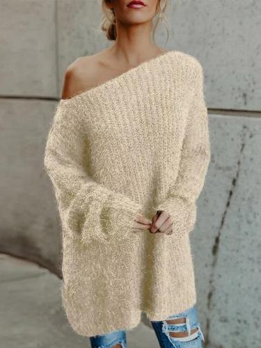 Casual Solid Crew Neck Long Sleeve Sweater