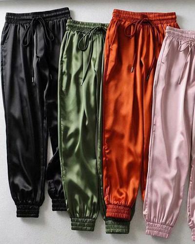 Female Summer Satin Cargo Pants Women Europe Loose Casual Sport Pants