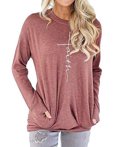 Women Cross Faith T-Shirt Letter Print T-Shirt Fall Spring Blouses