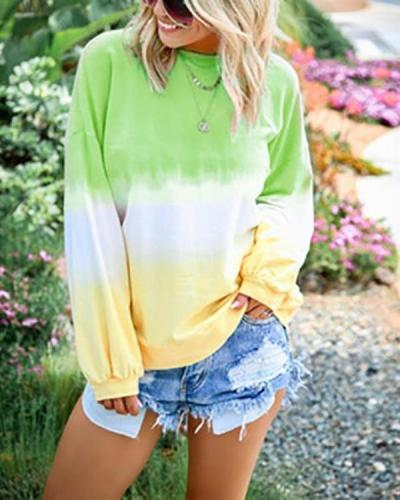 Casual Printed Long Sleeve Round Neck Fashion Blouses