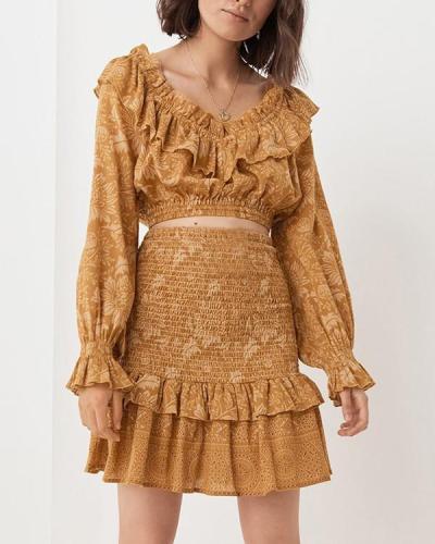 Bohemia Printed Long Sleeve Flounce Suit