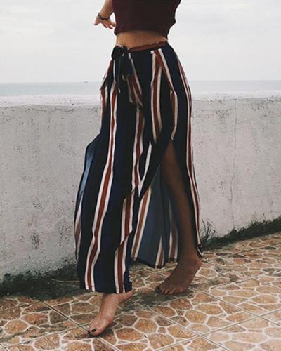 Bohemia Sexy Striped Split Casual Beach Vacation Pants