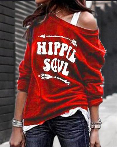 One Shoulde Printed Fall Loose  Daily Pullover Tops