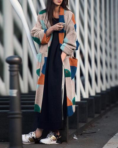 Fashion Printing long sleeve Lapels Coat