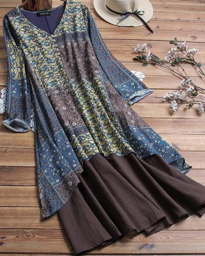 Summer V Neck Casual Floral Printed Plus Size Dress