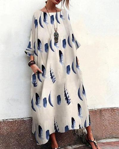 Printed Crew Neck Pleated 3/4 Sleeve Dress