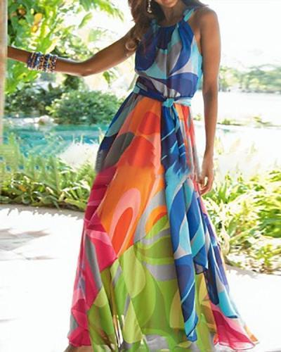 Multicolor Abstract Printed Halter Boho Dress