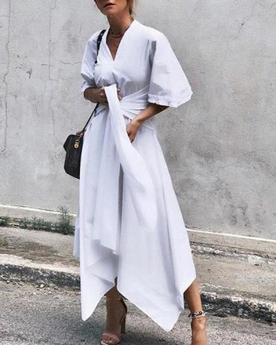Tie Waist Solid Color Irregular Short Sleeve Dress For Women