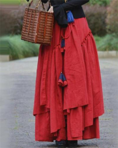 Solid Cotton Daily Vintage Skirt