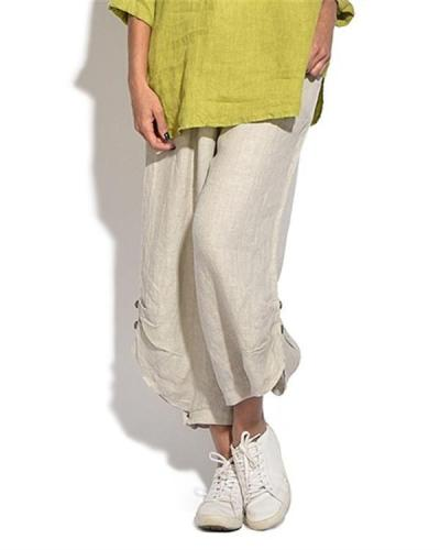 Solid Casual Button Elastic Waist Wide Leg Pants