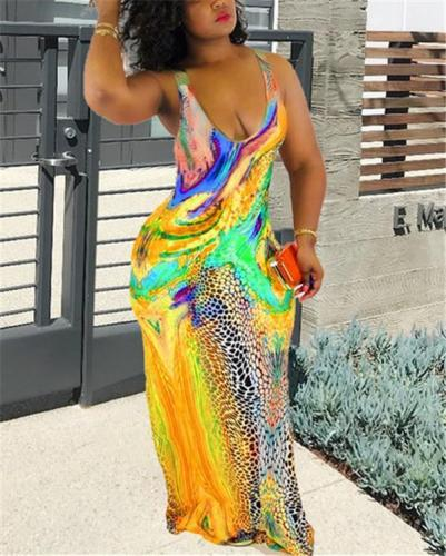Mermaid U Neck Sexy Women Sleeveless Maxi Dress