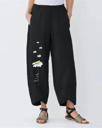 Vintage Daisy Printed Plus Size Casual Women Pants
