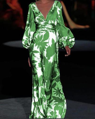 Women V-neck Elegant Printed Maxi Dress