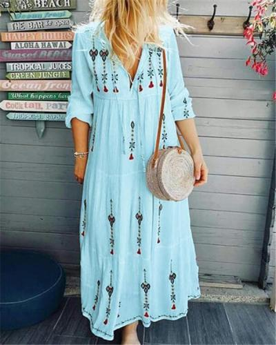 V Neck Women Floral Dresses Holiday Embroidered Floral Dresses