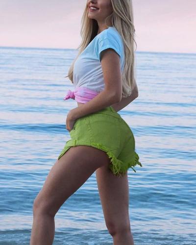 Macaron Green LowWaist Crimping Jeans Shorts Pants