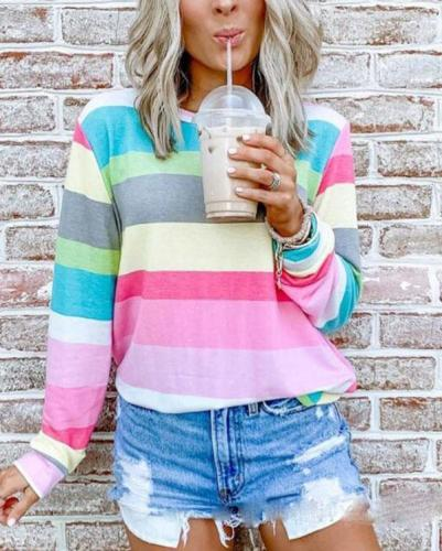 Round Collar Printed Striped Blouse