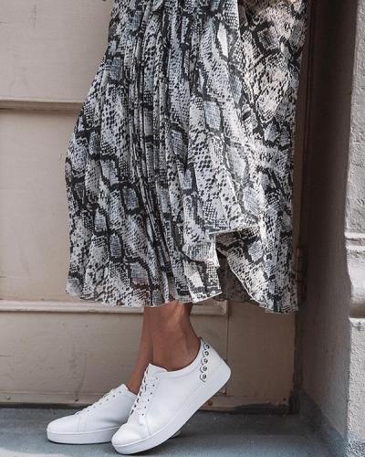 Snakeskin Pleated Elegant Midi Dress