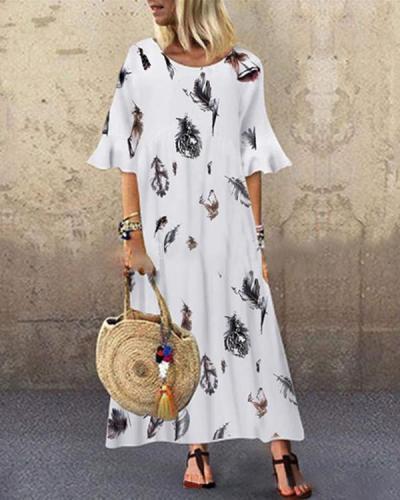 Loose Retro Feather Print Round Neck Short Sleeve Long Dress