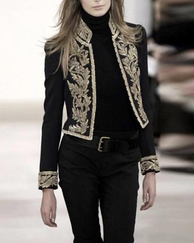 Fashion Collar Printed Coat