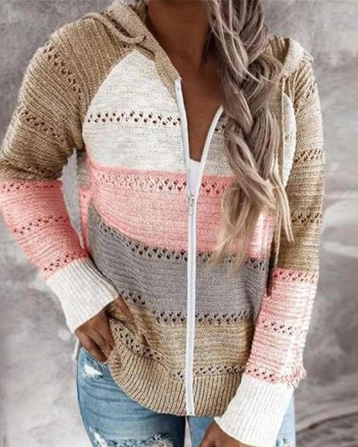 Contrast Color Knitted Zipper Lightweight Hoodie Cardigan