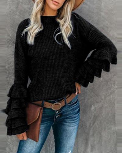 Women's Round Neck Flare Sleeve Multi-Layer Ruffle Sweater