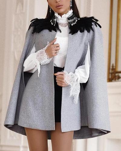Solid Color British Cloak Coat