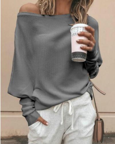 Oblique Neckline Solid Loose Regular Sweaters