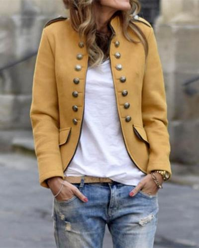 Fashion Band Collar Double Breasted Plain Blazers Outwears