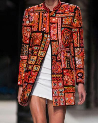 Orange Cotton-Blend Long Sleeve Graphic Outerwear