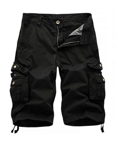 Men's Summer Cargo Solid Soft Multi-Pocket Shorts
