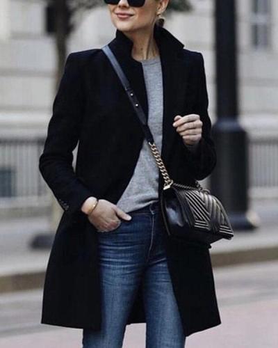 Winter Fashion Pure Color Warm Coat