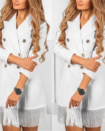 Women Double-breasted Tassel Elegant Blazer